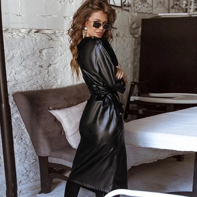 Women Vintage Pu Leather Straight Dress Button Belt V-neck