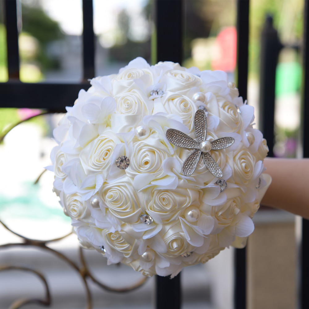 Bouquet Rose Sposa.Gorgeous Crystal Ivory Wedding Bouquet Satin Rose Flower Bouquets