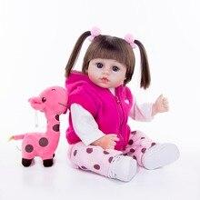 Straight hair princess Reborn Dolls Baby Toys 45cm Silicone and 100% cotton Reborn Babies Bebe girl for Gift Simulation doll цена в Москве и Питере