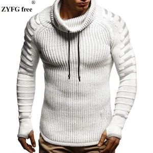 Image 1 - חדש חורף גברים אופנה מזדמן סוודר mens להתחמם סריגי סוודר גולף מוצק צבע סוודר לגברים מעיל בתוספת גודל