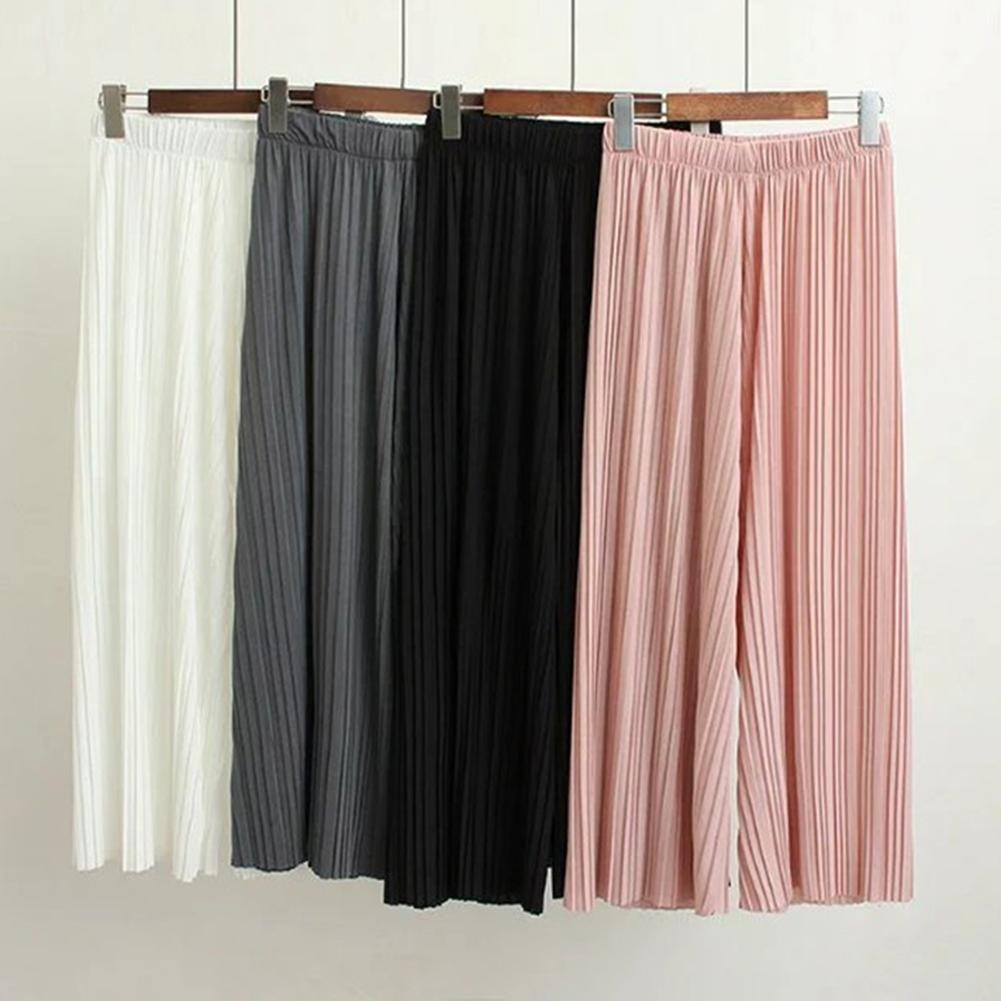 Women Solid Color Pleated Wide Leg Pants Elastic Waist Cropped Trousers Culottes