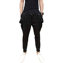 Idopy Men`s Punk Gothic Street Style Black Pants Studded Rivets Night Club Harem Pants Trousers For Male