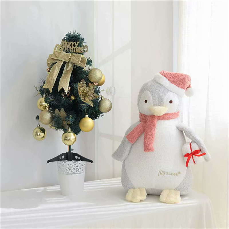 Lpvely New Hot 1pc 23cm Kawaii Christmas Hat Penguin Plush Toy Soft Stuffed With Scarf Doll Baby Children Lovers Birthday Gift image