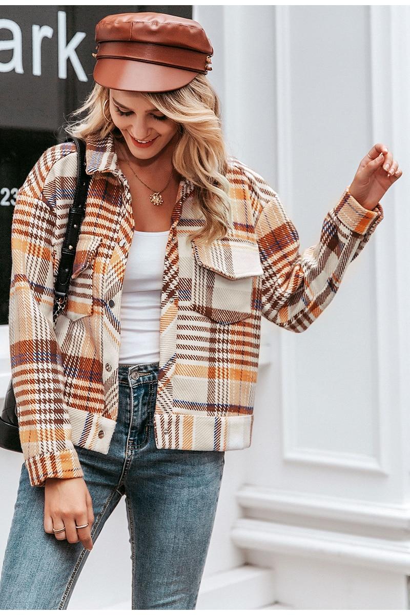 Simplee Single breasted women plaid jacket coat Long sleeve casual autumn outwear female coat Streetwear oversize ladies coat 4