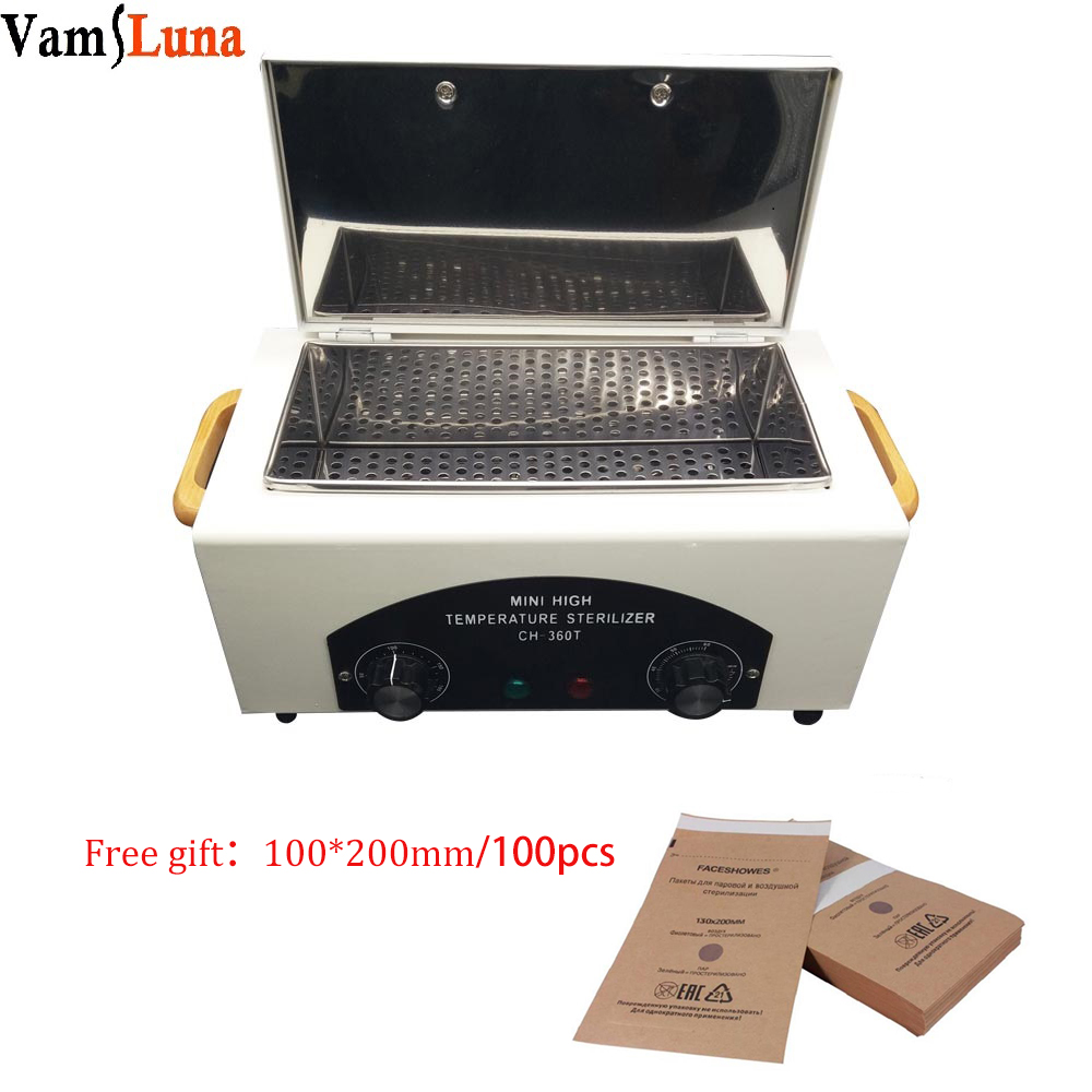 High Temperature Sterilizer For Nail Tool - Hot Air Disinfection With Removable Stainless Steel Tank Free Gift Sterilization Bag