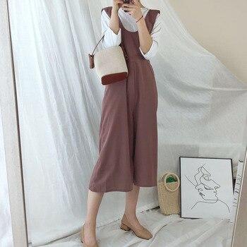 Women Wide Legs Jumpsuit Korean Causal Solid Color 3/4 Long Elegant Office Ladies Workwear Rompers Preppy Style