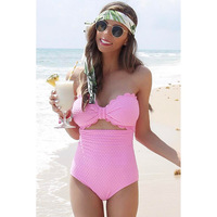 Sexy One Piece Swimsuit Womens Summer Fashion Beach Bikini Pink Swimsuit Set Ladies One PC Holiday Swimwear Pool Swimsuit
