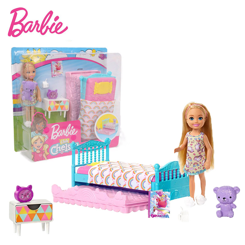 14cm Original Barbie Doll Barbie Dream To Pia Barbie Club Chelsea Bedtime Playset FXG83 Fashion Girl Funny Puppy Toys Gifts
