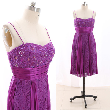 MACloth Purple Short Strap Knee-Length Midi Beading Lace Prom Dresses Dress L 266991 Clearance