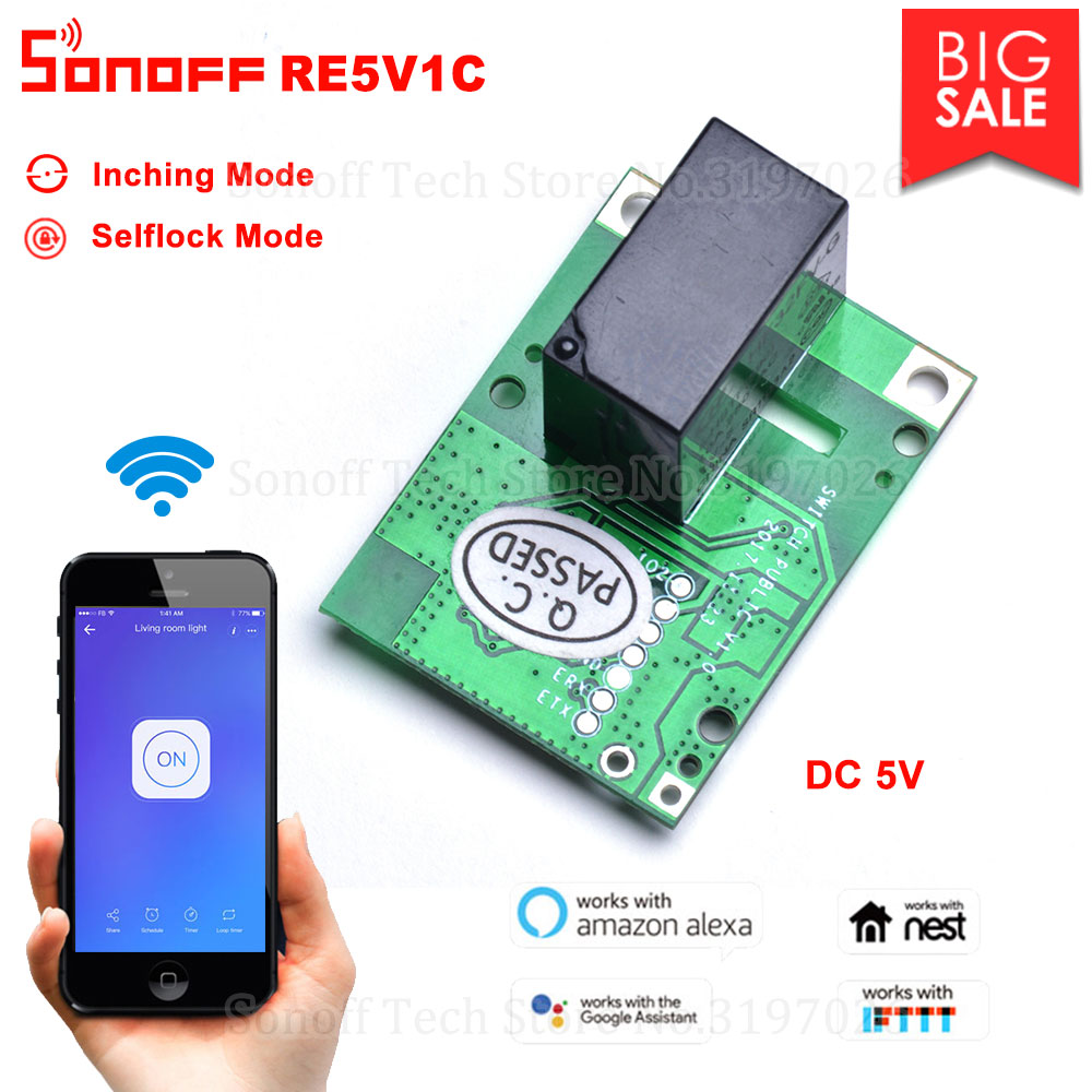 Itead Sonoff RE5V1C 5V DC Wifi Inching/Selflock Relay Module Switch Work via eWelink app Support Amazon Alexa Google Home IFTTT Проектор