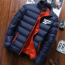 Winter Jackets Men Reebok Solid Parkas Stand Collar Long Sle