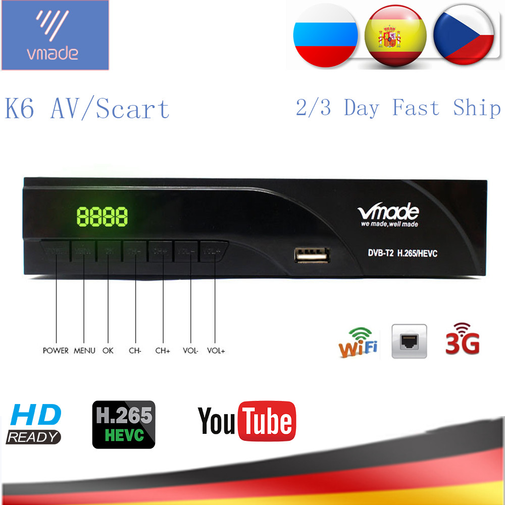 Vmade DVB-T2 HD Digital Terrestrial Receiver H.265/HEVC DVB T2 TV Tuner Support RJ45 LAN AC3 Audio Hot Sale Europe Set Top Box