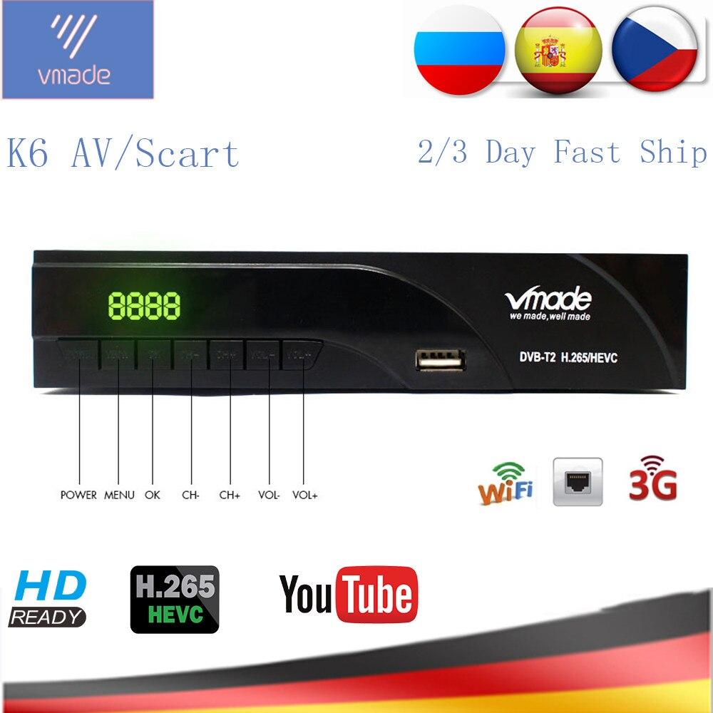 Vmade DVB-T2 HD récepteur numérique terrestre H.265/HEVC DVB T2 TV Tuner prise en charge RJ45 LAN AC3 Audio offre spéciale Europe décodeur