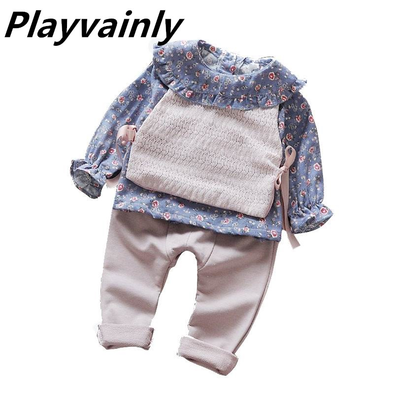 Wholesale Baby Girl Outfit Autumn New Floral Long Sleeve Top+vest +pants 3pcs Sets Sweet Princess Suit Baby Girl Clothes E91043