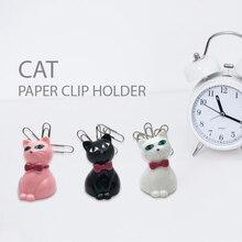 TUTU 1 piece in random color paper clip holder cute cat Paper Clip Magnetic Cosmetics Storage Box Finishing  H0448