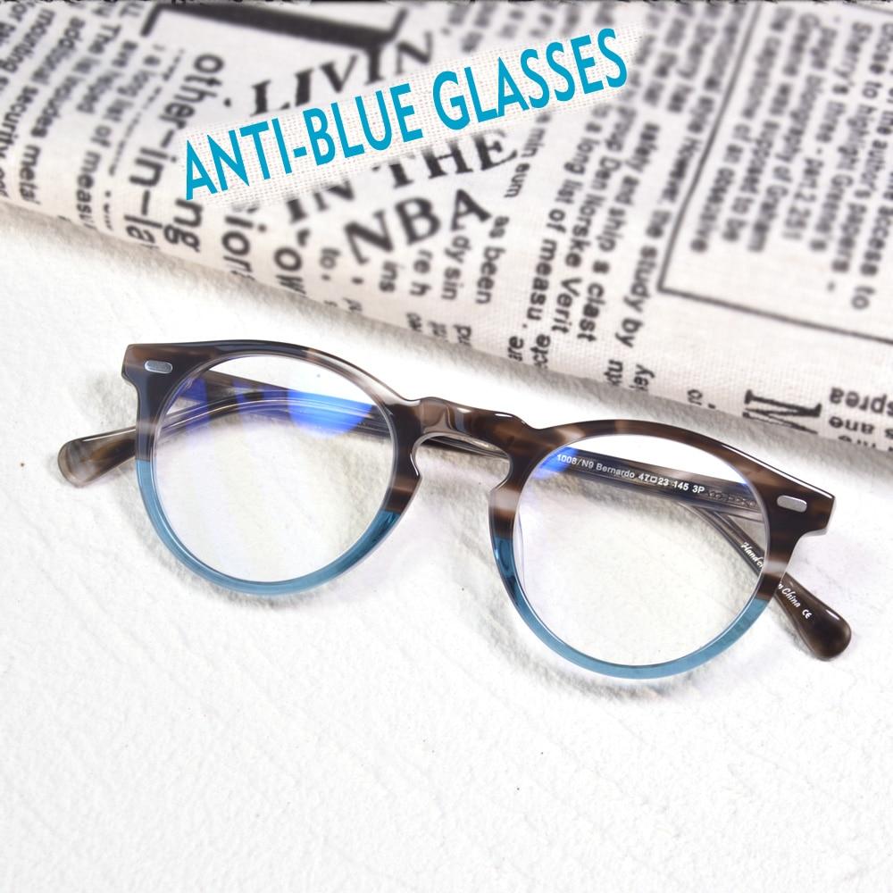 Blue Ray Fliter Off Lenses Eyewear Gregory Peck Retro Round Acetate Glasses Frame Crystal Men's Vintage Anti Blue Ray Spectales