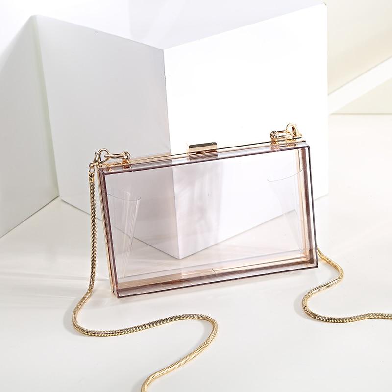 Womens diagonal shoulder bag Wholesale Trendy women clear acrylic evening clutch  bags for 2018