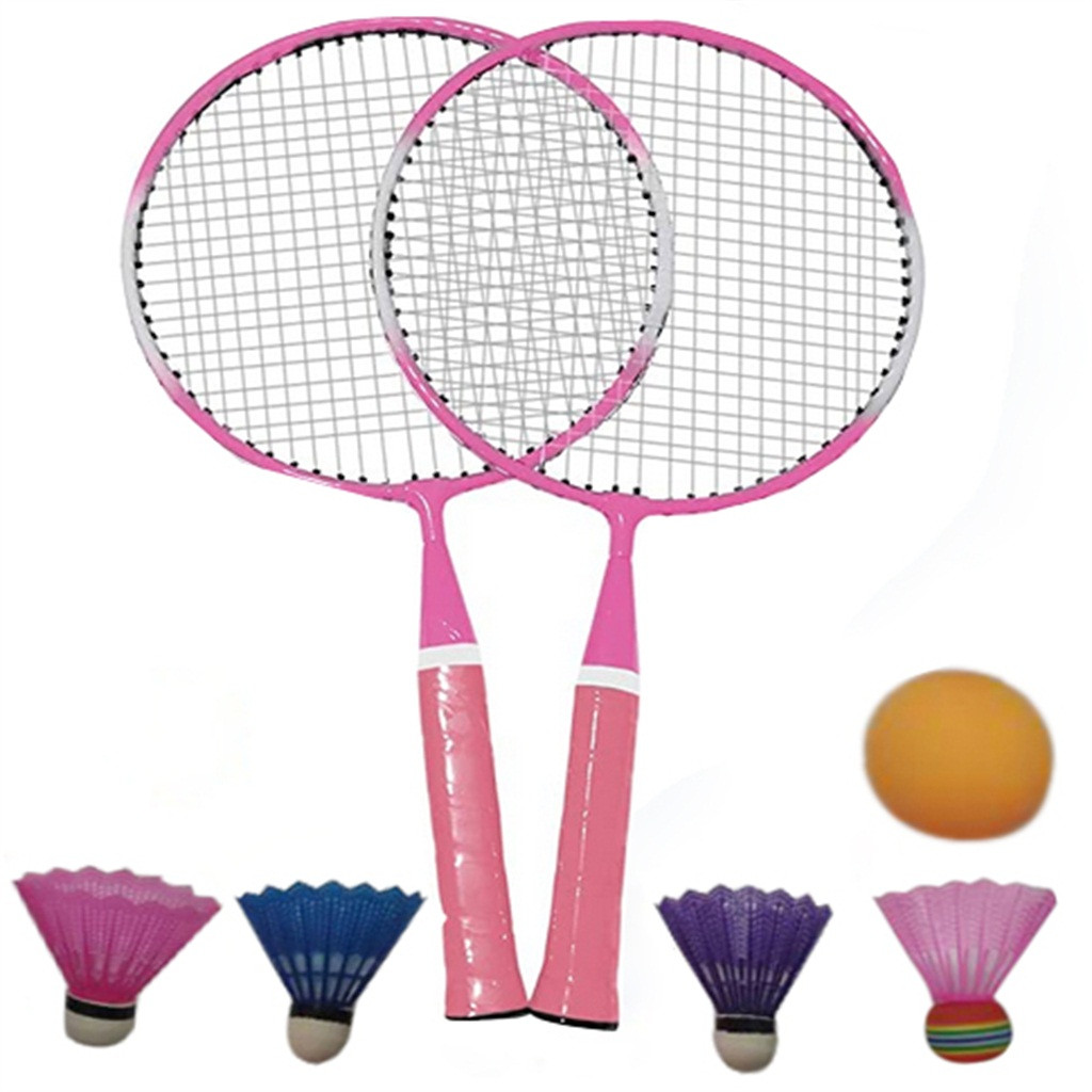 38 1 Pair Youth Children S Badminton Rackets Sports Cartoon Suit Toy Set With Three Balls Badminton Training Tool Outdoor Badminton Rackets Aliexpress