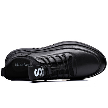 Misalwa Elevator Shoes for Men Casual Cow Leather Sneakers Black Designer Shoes Zapatos Elevadores Lofer