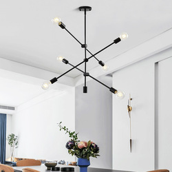 Żelazo LED light American lampa sufitowa lampa do jadalni zastosowanie do salonu sypialnia studium 6 głowic czarna LED E27 AC 110V 220V