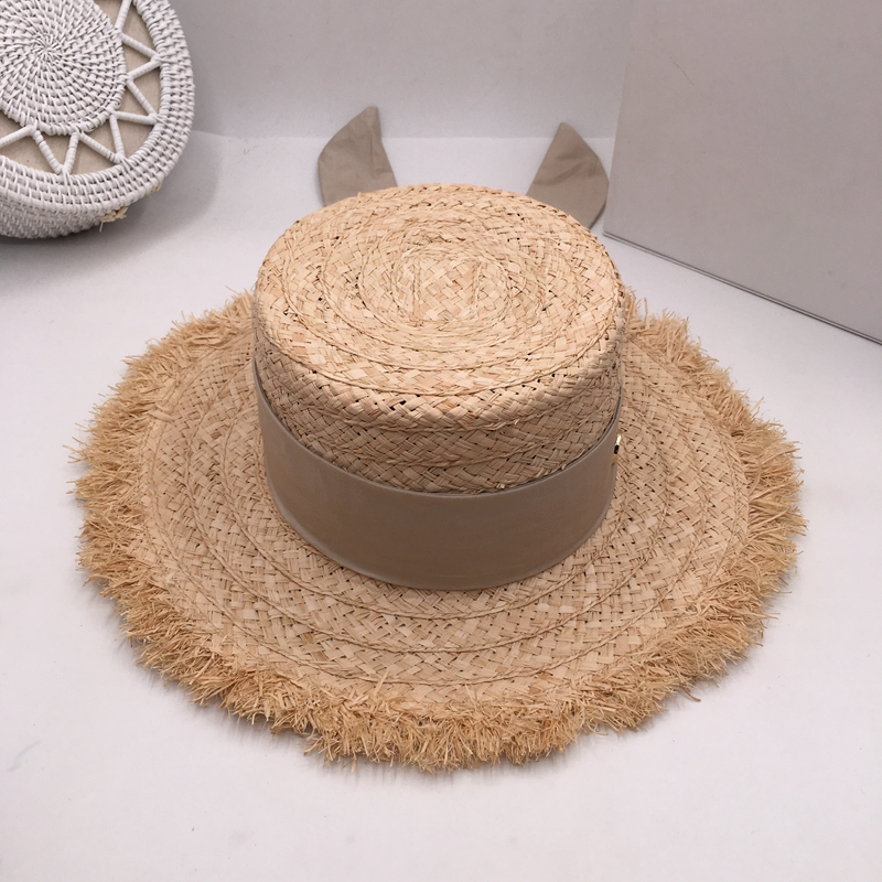 Japanese sweet lafite chic summer sun hat ladies elegant foldable bow ins style fake cool hat