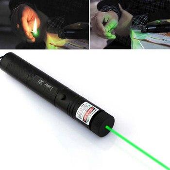 Green Laser Pointer Pen Focus Adjustable 532 Nm Zoomable Burning Laser&Key
