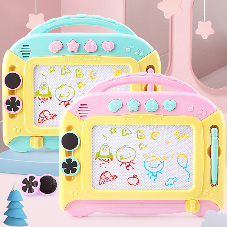 Children Multi-functional Music Sketchpad Color Magnetic Painted Graffiti Strip Stamp Early Education Writing Board Educational