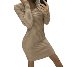 Bodycon Dress Women O-neck Long Sleeve Mini Solid Color Clothes Party Dresses Boho Beach Fashion 2019