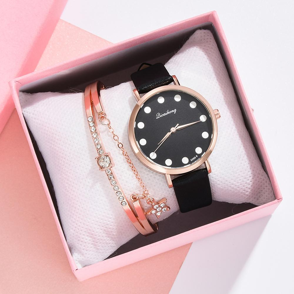 Women Brand Top Luxury Leather Belt Watches Women Fashion Simple Roman Starry Design Women Sports Clock Watch Zegarek Damski