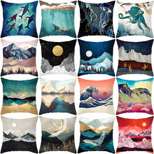 Painting Oil Mountain Forest Whale Soft Cushion Cover 45*45 Decorative Pillow for Car Home Office Throw Pillows