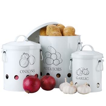 Breathable Kitchen Container Set and Food Storage Bins with 2 Handles for Storing Potatoes and Onions