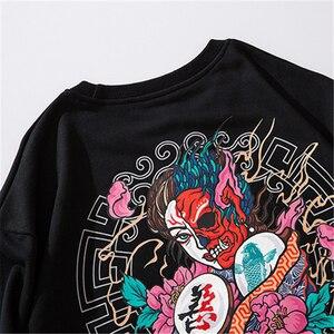 Image 4 - Bebovizi 2019 Men Streetwear Hip Hop Pullover Sweatshirt Demon Print Harajuku Pullover Cotton Japanese Hoodie Street Wear