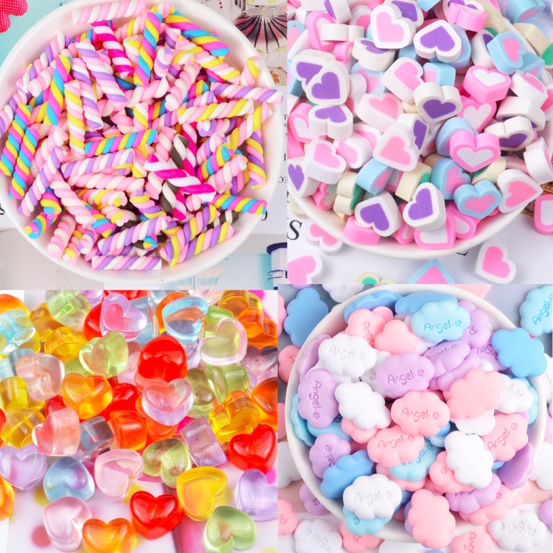 10PCS Kawaii Resin Charms Candy Mini Cute Heart Cloud Charm For Jewelry Making Children Rings Decoration