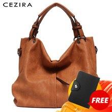 Cezira Merk Grote Vrouwen Lederen Handtassen Hoge Kwaliteit Vrouwelijke Pu Hobos Schoudertassen Solid Pocket Dames Tote Messenger Bags