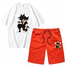 Men's Sets saiyan print tees and Shorts sportswear T shirts men Short sleeved set 2 pcs casual top wholesale Sport shorts