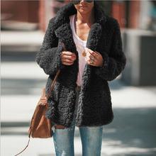 Сексуальное плюшевое пальто с отворотом удобные тонкие повседневные