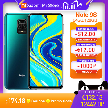 "Global Version Xiaomi Redmi Note 9S 4GB 64GB/ 6GB 128GB Smartphone Snapdragon 720G 48MP Camera 6.67"" 5020mAh 18W Charge"
