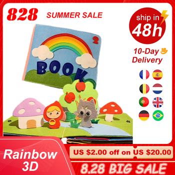 Rainbow 3D Baby Cloth Book Practice Hand Early Learning Education Quiet Book Soft Washable Unfold Parent-Child Interaction Book