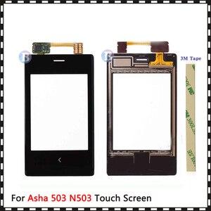 """Image 1 - 高品質 3.0 """"ノキアアーシャ 503 N503 タッチスクリーンアウターガラスレンズパネル黒"""