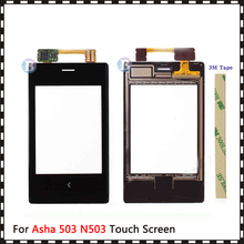 """Yüksek kalite 3.0 """"Nokia Asha 503 için N503 dokunmatik ekran Digitizer sensörü dış cam Lens paneli siyah"""