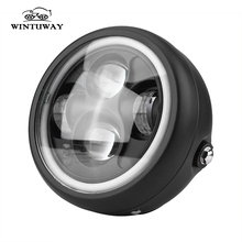 WINTUWAY Motorcycle LED Headlight HeadLamp Bulb For Harley Sportster Cafe Racer Bobber Motor Headlight Bulb DRL With Angel Ring 7 inch motorcycle led headlight headlamp bulb for harley sportster cafe racer bobber cold white headlights head light lamp