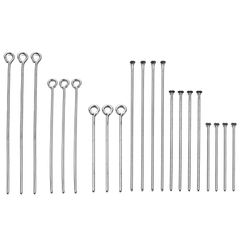 100pcs Stainless Steel Eye Head Pins 20 30 40 50 60 70mm Eye Pins Findings Silver Plated For Diy Jewelry Making Accessories 100pcs 20 30 40 50 60 70mm stainless steel heads eye pin flat head pin ball head pins for jewelry making findings accessories