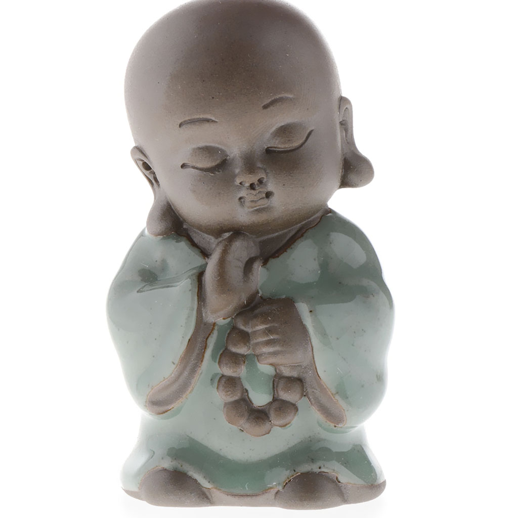 Monk Baby Buddha Figurine Ceramic Statue Home Office Table Desk Decor ~F