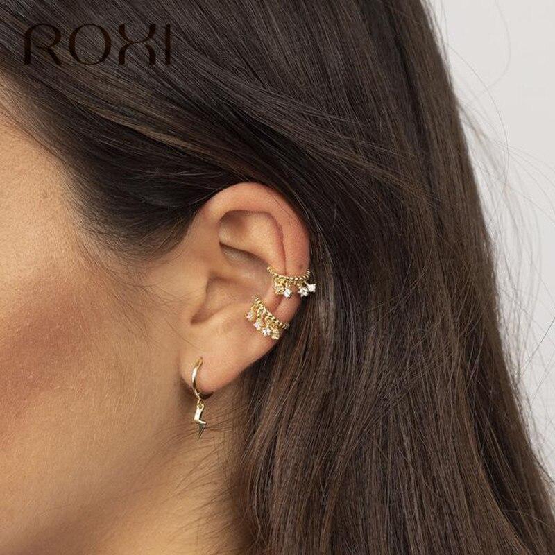 ROXI 925 srebro błyskawica wisiorek stadniny kolczyki dla kobiet brincos osobowość wiszące kolczyki biżuteria punkowa koreański