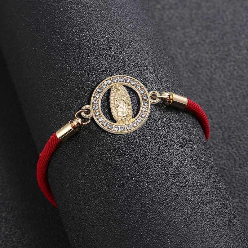 手頃な価格の卸売ラッキーかわいい聖母マリアブレスレット糸調節可能女性男性のための宝石類のギフト