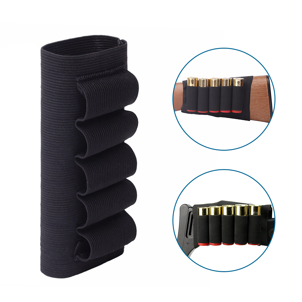 5 Round Shotgun Ammo Carrier Shell Holder 12/20 GA Military Bandolier Carrier Pouch Airsoft Rifle Hunting Shotgun Shell Holder