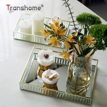 Transhome стеклянная зеркальная подставка для торта, 2 размера, Золотой/серебристый/черный металлический край, красная винная тарелка, Свадебный поднос для торта, дня рождения, вечеринки