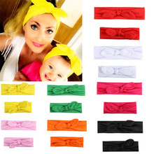 2pcs Mommy Baby Matching Turban Twist  Elastic Knot Head Wrap Rabbit Ears Soft Cotton Bowknot Headband Twisted Knotted Hair Band 2019 brand new 3pcs stretchy twist knot bow head wrap headband twisted knotted cute hair band baby gifts
