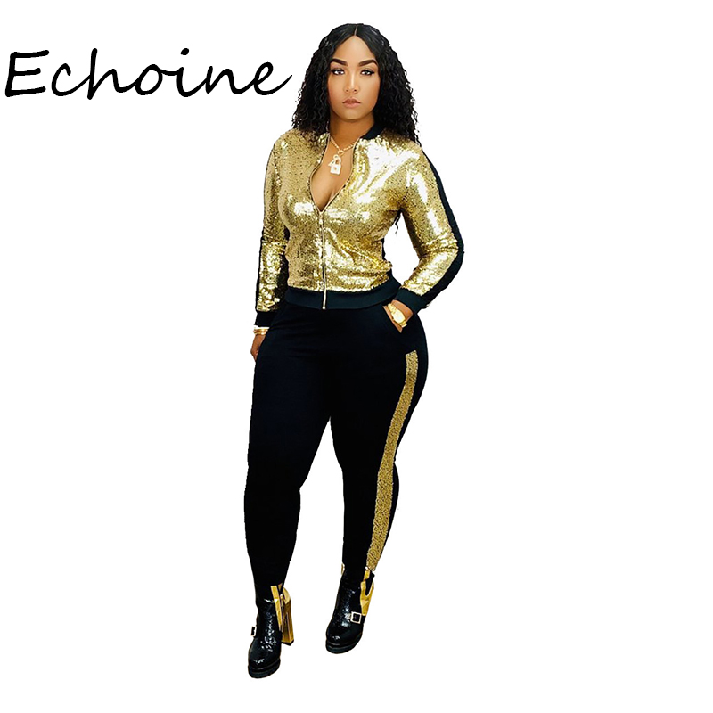 Fashion Color Patchwork Sequin Suit Two Pieces Set Zipper Coat + Long Pants Pocket Jogging Femme Sportwear Tracksuit Winter