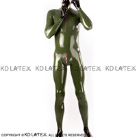 Army Green Sexy Latex Catsuit With Neck Zipper And Crotch Zipper Rubber Body Suit Bodysuit Zentai Overall Long Sleeves LTY 0267